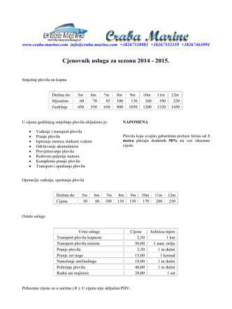 Cjenovnik usluga za sezonu 2014 - 2015.