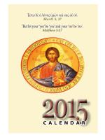 2015C alendar - Greek Orthodox Metropolis of Toronto (Canada)