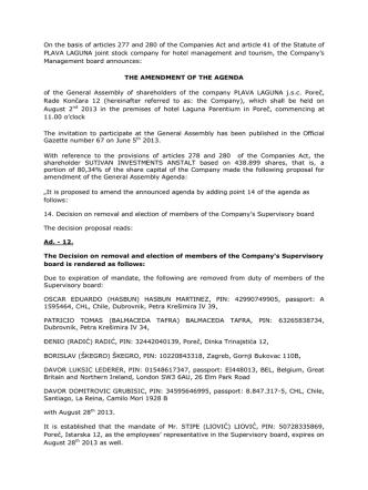 Amendment of the agenda GA 2013 - announcement