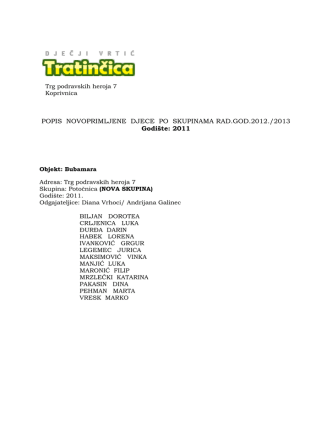 2011. popis djece po skupinama