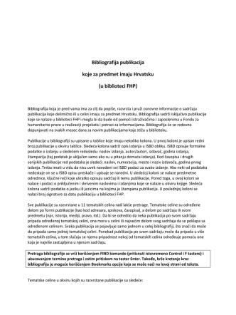 Bibliografija publikacija koje za predmet imaju Hrvatsku (u biblioteci