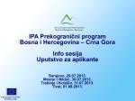 IPA Prekogranični program Bosna i Hercegovina – Crna Gora Info