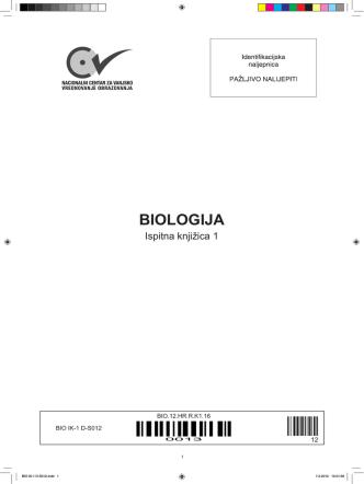 BIO Ispitna knjizica 1