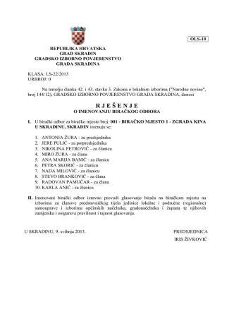 Birački odbor - Grad Skradin