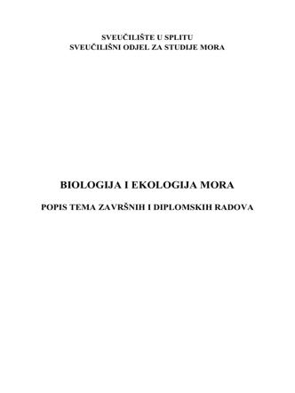 BIOLOGIJA I EKOLOGIJA MORA - Sveučilišni odjel za studije mora