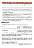 Balkan Criminology news 1/2014