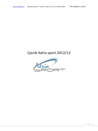 Cjenik Adria sport 2012/13