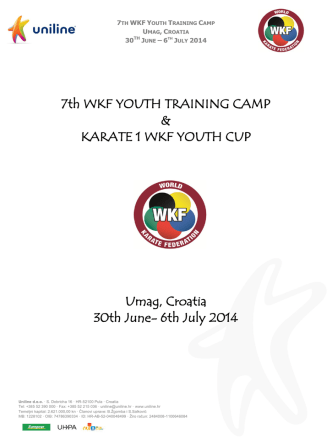 7th WKF YOUTH TRAINING CAMP & KARATE 1 WKF YOUTH CUP