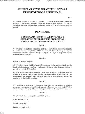 (78 26.06.2013 Pravilnik o izmjenama i dopunama Pravilnika