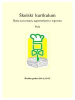 Školski i strukovni kurikulum - Škola za turizam, ugostiteljstvo i
