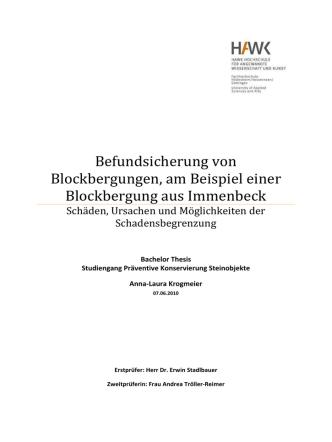 Befundsicherung von Blockbergungen, am Beispiel einer