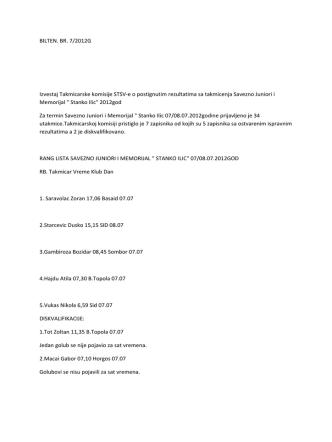 BILTEN. BR. 7/2012G Izvestaj Takmicarske komisije STSV