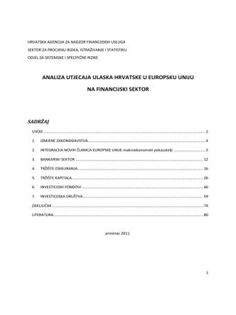 analiza utjecaja ulaska hrvatske u europsku uniju na financijski sektor