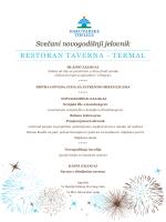 Svečani novogodišnji jelovnik RESTORAN TAVERNA