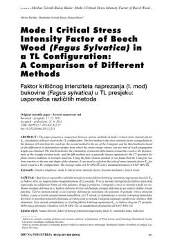 Mode I Critical Stress Intensity Factor of Beech Wood (Fagus