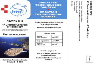 CROTOX 2012 4th Croatian Congress of Toxicology First