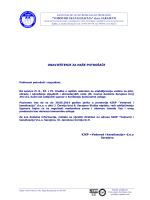 Obavijest u cijelosti  - KJKP `Vodovod i kanalizacija`