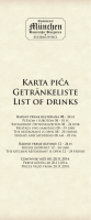 Karta pića Getränkeliste List of drinks