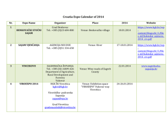 Croatia Expo Calendar of 2014