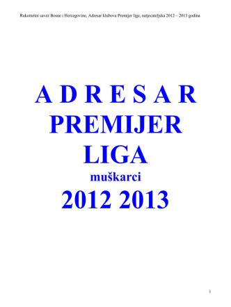 A D R E S A R PREMIJER LIGA 2012 2013