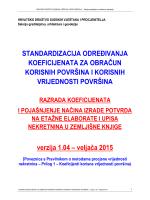 Standardizacija određivanja koeficijenata za obračun korisnih