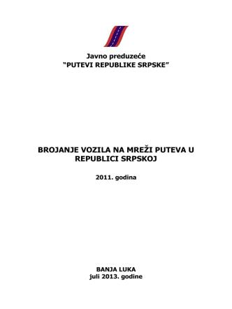 brojanje vozila na mreži puteva u republici srpskoj