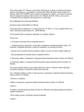 2.1. Izvanredna Glavna skupština 04.10.2010. – Poziv