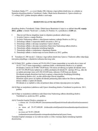 18/05/2012 Poziv za Glavnu skupštinu 2012