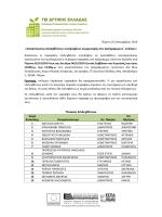 «Ανακοίνωση επιλεχθέντων υποψηφίων συμμετοχής στο πρόγραμμα