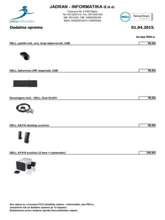 Dell dodatna oprema - Jadran Informatika doo