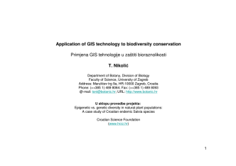 Application of GIS technology to biodiversity conservation Primjena