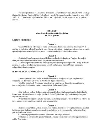 Akti sa 7. sjednice Općinskog Vijeća