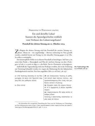 3. Protokoll - Die Apostelgeschichte