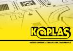 Katalog KOPLASPRO - KOPLAS Srbija: mašine i oprema za obradu