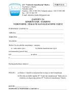 zahtjev za izmještanje / zamjenu vodovodne
