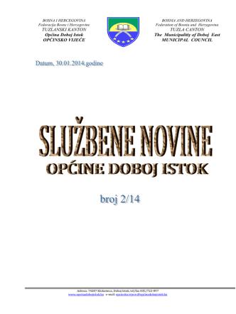 2 MB 14th Feb 2014 službene novine općine doboj istok broj 2