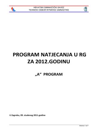 A» program - Hrvatski gimnastički savez