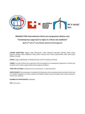 BHAAAS: Fifth international critical care symposium, Mostar 2013