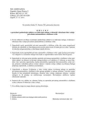 707 Odluka o proceduri za vožnju privatnim automobilom u