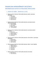 financijski menadžment 2012/2013. informacijski sustavi za