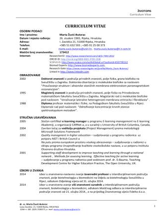Curriculum Vitae - Medicinska informatika