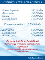 Cenovnik Wellness usluga