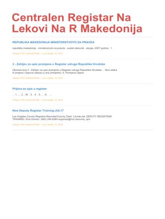Centralen Registar Na Lekovi Na R Makedonija