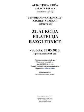 32. aukcija filatelija razglednice