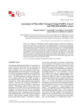 Assessment of Macrolide Transport Using PAMPA, Caco