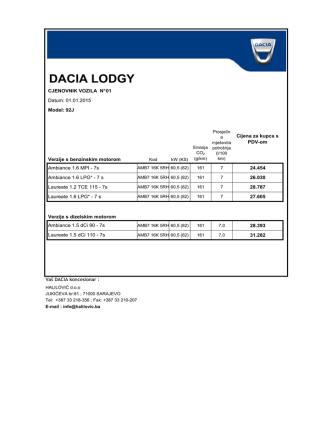 DACIA LODGY - Halilović doo Sarajevo