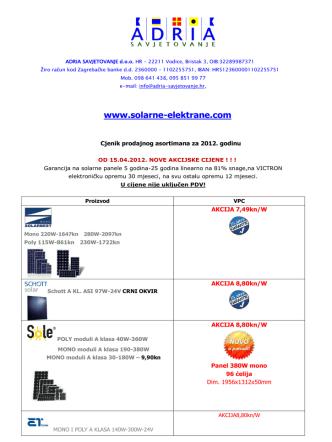 Cjenik prodajnog asortimana za 2012. godinu - solarne