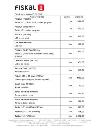 Cjenik robe na dan 15.06.2013. Naziv proizvoda Stavka