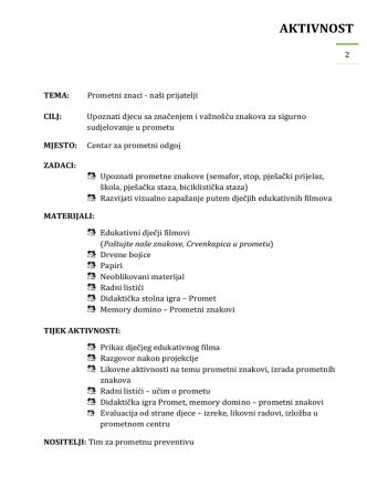 aktivnost 2 - Sigurna cesta