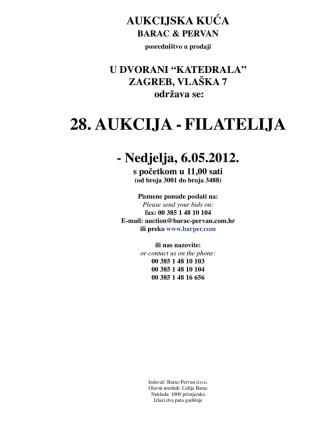 28. AUKCIJA -FILATELIJA - Barac & Pervan aukcijska kuća